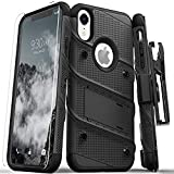 Zizo 1BOLT-IPHXR-BKBK Bolt Cover Kickstand and Holster Case with Glass Screen Protector for iPhone XR - Black