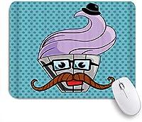 VAMIX マウスパッド 個性的 おしゃれ 柔軟 かわいい ゴム製裏面 ゲーミングマウスパッド PC ノートパソコン オフィス用 デスクマット 滑り止め 耐久性が良い おもしろいパターン (口ひげのメガネと帽子の面白いかわいいヴィンテージAカップケーキ)