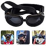 Occhiali Cani, Occhiali da Sole Cani, Impermeabili Occhiali per Cani, Occhiali da Sole per Animali Domestici, Occhiali di Sicurezza per Cani, Anti-UV, Antivento, Antinebbia (Nero)