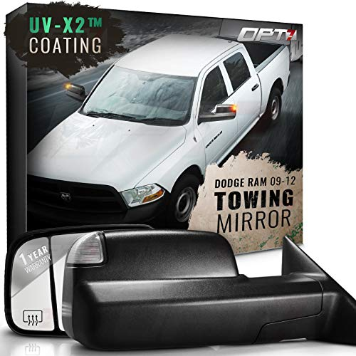 OPT7 Deluxe Pair Truck Towing Trailer Mirrors for 2009-2012 Dodge Ram 1500/2500/3500 - Powered Heated Turn Signals Adjustable Foldable Puddle Light DOT Approved - 1 Year Warranty
