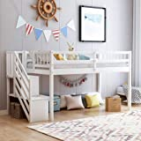 Twin Floor Loft Bed with Stairs and Storage Shelves, Wood Low Twin Bed Frame with Ladder and Guardrails (White)