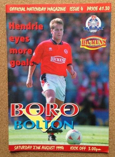 Middlesbrough Bolton Wanderers 27/08/94 AYRESOME Boro football programme (GR1)