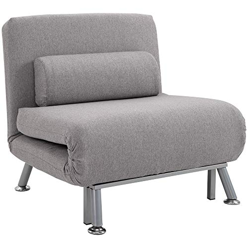HOMCOM Single Sofa Bed Sleeper Foldable Portable Pillow Lounge Couch Living Room Furniture - Grey