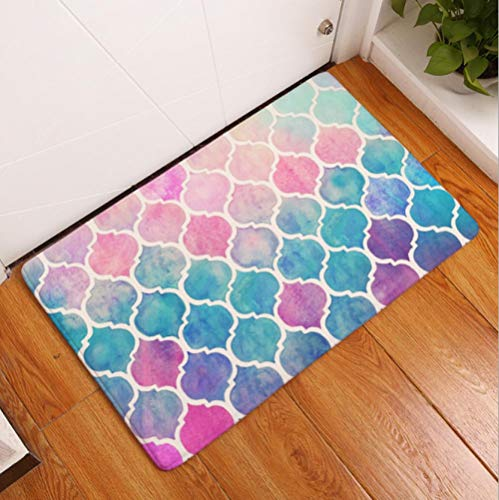 N / A Alfombras Antideslizantes de Cocina,Colorful Geometric Printing Floor Mat, Long Absorbent Non-Slip Mat for Kitchen and Bathroom-B_40*60cm