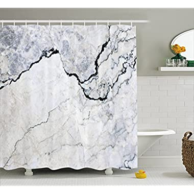 Apartment Decor Shower Curtain by Ambesonne, Marble Textured Smooth Details Cracked Dimension Stone Smooth Elegance Image, Fabric Bathroom Decor Set with Hooks, 70 Inches, Grey