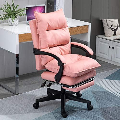 Gaming Chair Ergonomische Bürocomputer-Drehstühle Verstellbarer PU-Ledersessel Video Gaming Chair Mit Lordosenstütze Und Gepolsterten Armlehnen Entwickelt Für Die Junge Generation,Pink-with+Footrest