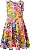 Jxstar Little Girl's Classical Animals Fashion Printed Sleeveless Dress Cat 150