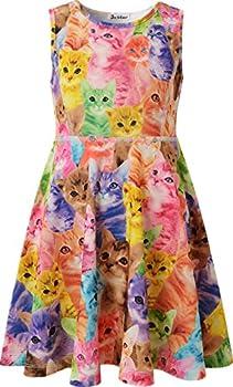 Jxstar Little Girl s Classical Animals Printed Sleeveless Dress Cat 110