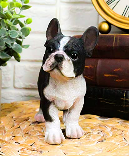 Ebros Realistic Lifelike Black French Bulldog Puppy Figurine 6' Wide Frenchie Figurine Dog Animal Pet Pal Collectible