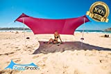 BEACH TENT POP-UP FOR ALL OUTDOOR ACTIVITIES - Relax comfortably on the beach, this Sun shelter includes a huge sunshade canopy, anchors, and aluminum poles for quick and easy setup by the lake, in the park or spending time with family or friends out...