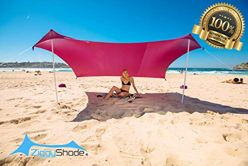 ZiggyShade Family Beach Sunshade, Lightweight Pop Up Sun Shade Tent with Sandbag Anchors, UPF50+ Quality Lycra Fabric, Ground Pegs. Large Outdoor Canopy for Camping Trips, Picnics. 5.3x6.6 FT, 2 Poles