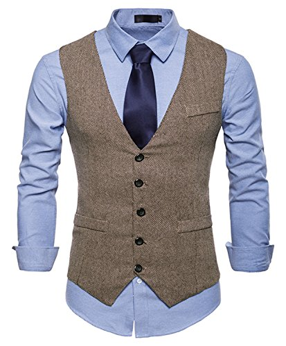 WHATLEES Herren Schmale Tweed Weste mit schmaler Knopfleiste , Ba0082-khaki , XL