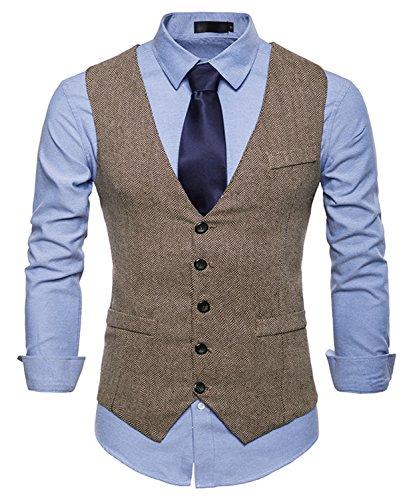 WHATLEES Herren Schmale Tweed Weste mit schmaler Knopfleiste , Ba0082-khaki , L
