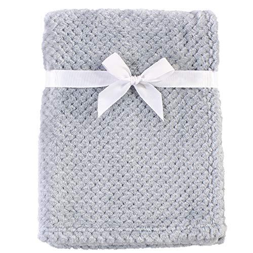 Hudson Baby Unisex Baby Plush Waffle Blanket Gray One Size