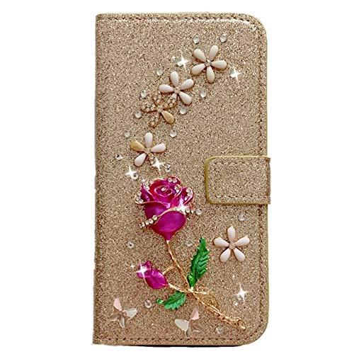 Capa carteira XYX para Samsung Galaxy A21S SM-A217, [flor rosa 3D] capa carteira de couro PU brilhante com glitter para mulheres e meninas, dourada