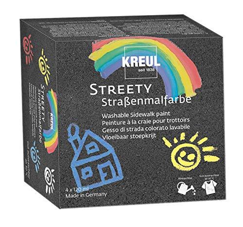 Kreul 43100 - Streety Straßenmalfarbe Starter Set, 4 Farben á 200 ml, abwaschbare Flüssigkreide zum Malen mit Pinsel oder Roller, flüssige Straßenmalkreide, vegan, dermatologisch getestet, auswaschbar