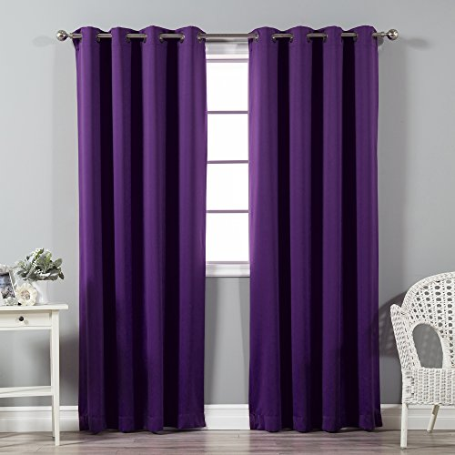 Best Home Fashion Premium Thermal Insulated Blackout Curtains - Antique Bronze Grommet Top - Purple - 52