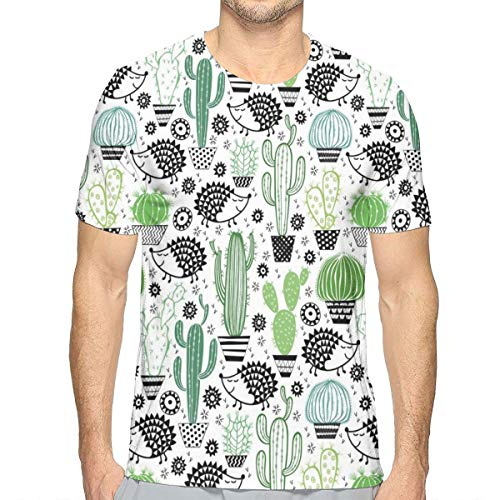 Mens 3D Printed T Shirts,Cartoon Inspired Drawing of Cute Hedgehog Animals Saguaro and Prickly Pear XL