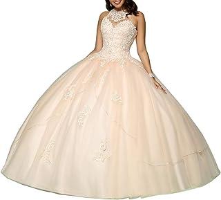 Nanger Vestido de tul para mujer, de Quinceanera, largo en A, vestido de princesa