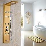 HT Panneau de douche monté sur bois doré Pomme unique 5-fonctions Colonne de douche de bain avec jets de massage corporel