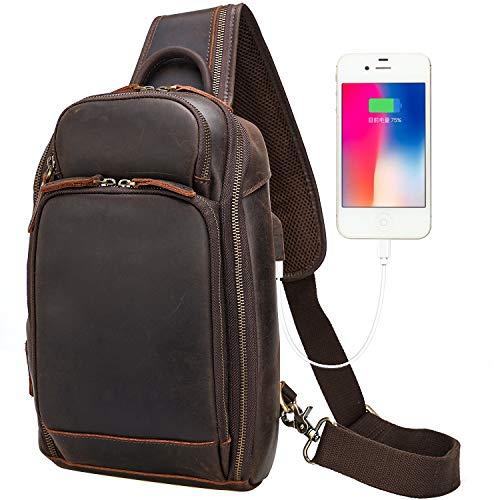 Men's Vintage Leather Messenger Satchel Chest Pack Sling Casual Outdoor School Travel Case Tablet Multi-purpose USB Charging Port Shoulder Crossbody Bag Brown