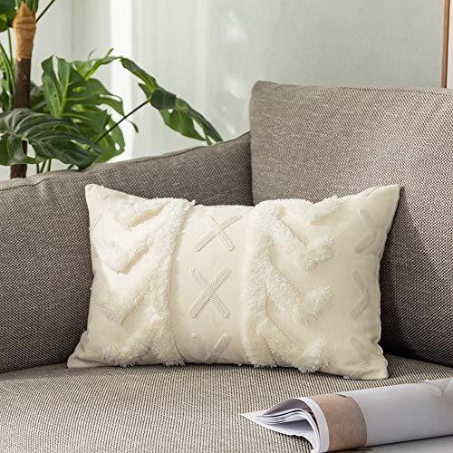Sungea Funda de almohada decorativa para cojín lumbar, decoración bohemia, color beige, funda de cojín para sofá, cama de 30,5 x 50,8 cm, color beige