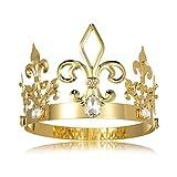 DcZeRong King Crown Costume Round Metal Crystal Tiara Adult Male Standard Size Crowns Men Birthday Prom Homecoming King Crowns Gold Cake Topper Bridal Wedding Cosplay King Crown Tiara