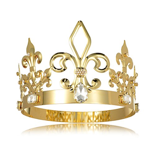 DcZeRong King Crown Costume Round Metal Crystal Tiara Adult Male Standard Size Crowns Men Birthday Prom Homecoming King Crowns