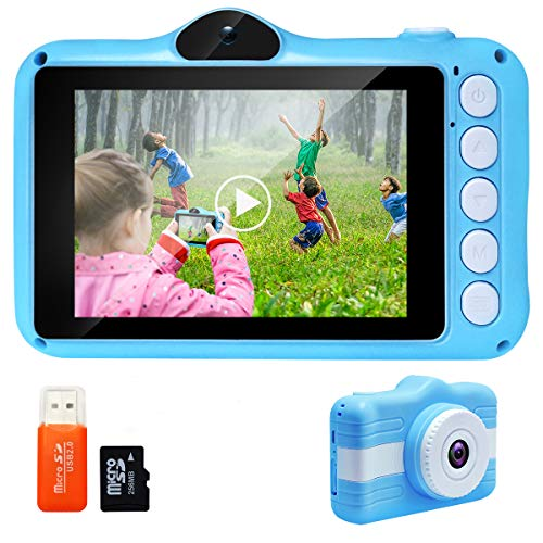 Joytrip Kids Digital Camera 3.5 Inch Screen Mini Rechargeable Toy Camera Gifts for Kid Boys & Girls Ages 4-12 Child Selfie Camera Camcorder(Blue) …