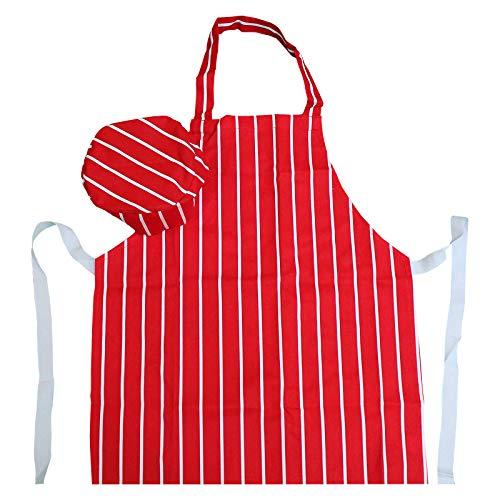 Juego de delantales y gorros de cocinero para niños, diseño de carnicero, color rojo, tela, Rojo, 10-12 años