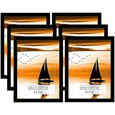 Americanflat 6 Pack - 5x7 Black Picture Frames Glass Front