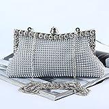 OOFAY Aluminiumperlen + Aluminiumbleche + Strass Abendtaschen Damentaschen Abendkupplungen,Silber