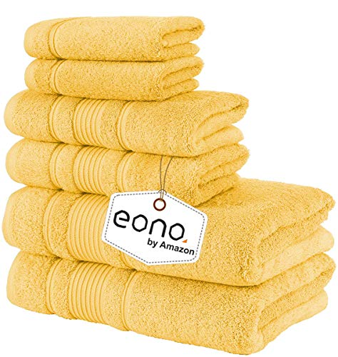 Eono by Amazon, Toallas de SPA y Hotel Juego de Toallas de 6 Piezas, 2 Toallas de baño, 2 Toallas de Mano y 2 toallitas(Irlandés Amarillo)