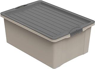 Rotho Compact Boîte de rangement 38l avec couvercle, Plastique (PP recyclé) sans BPA, cappuccino/anthracite, A3/38l (57,0 ...
