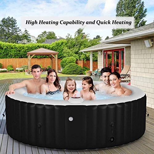Goplus 4-6 Person Outdoor Spa Inflatable Hot Tub for Portable Jets Bubble Massage Relaxing with Accessories Set (6-Person, Black)