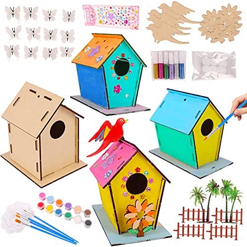 colmanda Casa per Uccelli in Legno, 4 Pezzi Kit Casa per Uccelli in Legno, Casetta Uccelli Giocattoli Fai da Te Kit per Bambini, Casetta Pittura Kit Decorazioni per attività domestiche in Legno