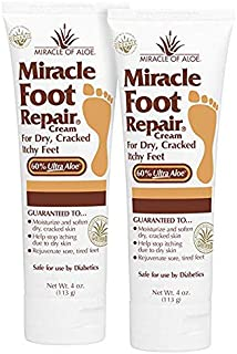 Miracle Foot Repair 2-Pack 4-Ounce tube with 60% Organic UltraAloe | For Dry, Cracked, Itchy feet | Fast-Acting | Super-Moisturizing | Helps Athlete`s Foot | Have Soft, Baby Feet Once More