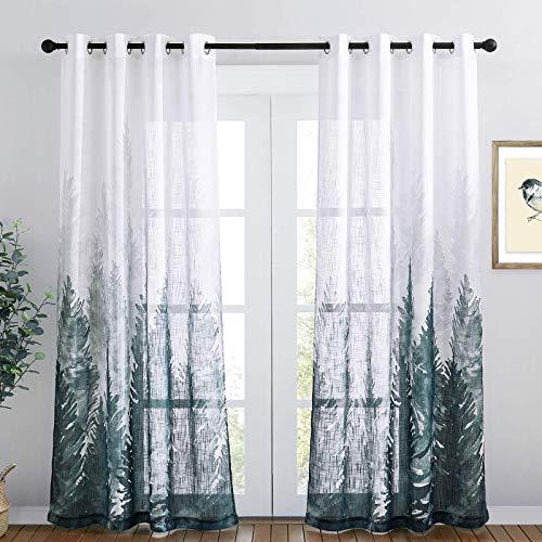 RYB HOME Linen Sheer Curtains Semi Sheer Curtains 84 inch