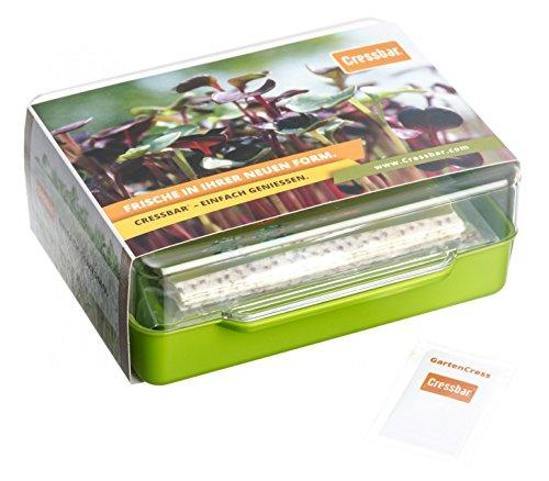 Cressbar® Starterkit grün - 3 Cressbar Kresseschalen mit 24 Cresspads aus Gartenkresse, Radieschen, Rucola, Senf