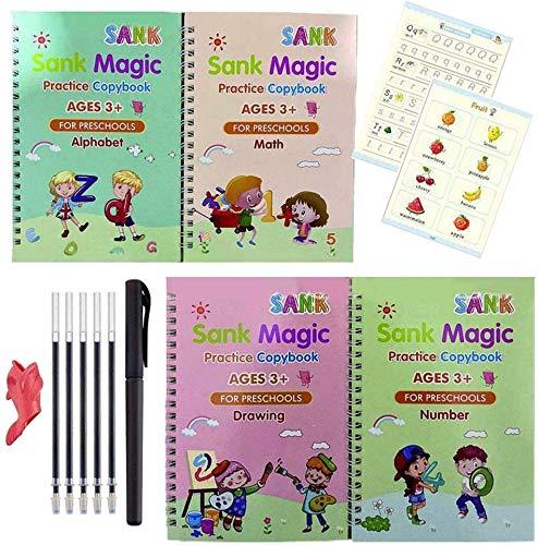 Sank Magic Practice Copy Book, Magic Writing Paste Kindergarten Grooves, Magic Writing Aufkleber Kinder Englisch Wörter Zahlen Zeichnen Copybook Lernen, Wiederverwendete Handschrift Set