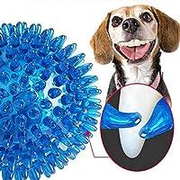9cmの耐久性のあるTPRペット犬ボールSqueakの犬のおもちゃのためにゴールデンレトリバーの子犬犬スパイクボール弾性サウンドチュー歯のクリーニングのおもちゃ (Color : L)