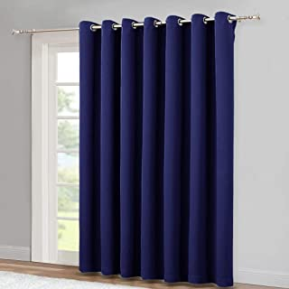 NICETOWN Blackout Wide Sliding Door Curtains - Insulated Noise Reduction Drapes, Privacy Vertical Blind for Living Room & Bedroom (Royal Blue, W100 x L95 inches)