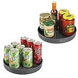 mDesign Juego de 2 platos giratorios para estantes de cocina – Práctico soporte para especias para los armarios de la cocina – Especiero giratorio de plástico – gris pizarra