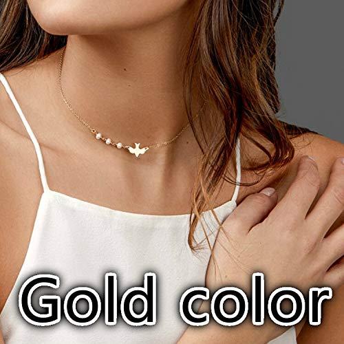 Collares, Mujer Paloma Gargantilla Cadena de Perla Artificial Colgante Simple Nupcial Joyería Colgante de Boda Collares (Metal Color: Dorado)