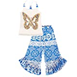 Girls Trendy Scrunch Back Sequin Butterfly Applique Tank & Printed Ruffled Hem Palazzo Pant Dress Set- Proudly Made in USA by Mia Belle Baby