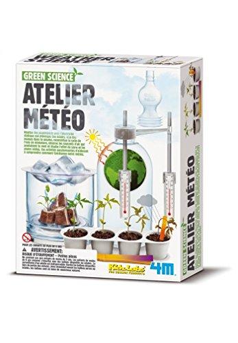 4M Kidzlabs GREEN SCIENCE: ATELIER METEO / EMBALLAGE F R A N C A I S, étudiez la science des phénomènes de temps, réchauffement climatique, la production de brume, la pluie acide, ..., avec des instructions détaillées, boîte 22x17x6cm, 5+