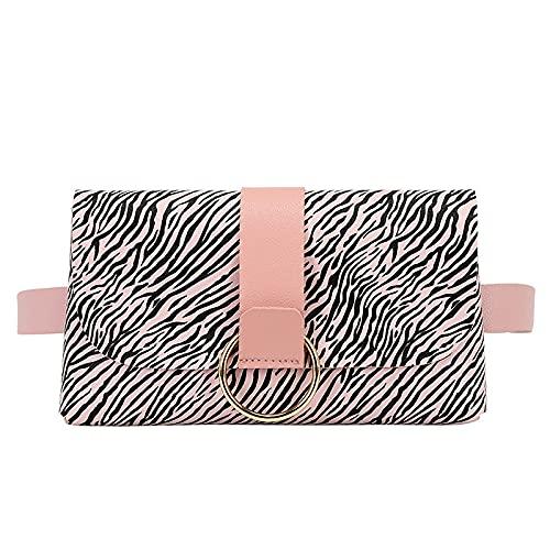 Bolsa de cintura de moda para mujer, Mini Fanny Pack de cuero de la PU Bum Bag Leopard Zebra Pattern extraíble Money Belt Bag