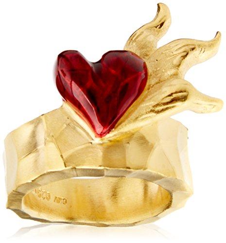 Drachenfels Kleiner Herz Ring in Echtsilber goldplattiert | Kollektion Flammeninferno | Herzring aus 925 Sterling Silber | Ring für Damen | D IN 11/AGG