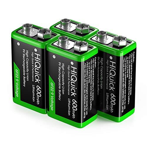 HiQuick 9V Akku, 9V Block Batterien, 600mAh Wiederaufladbare Batterie, 1200 Ladezyklen, 4 Stück, für Rauchmelder Multimeter Alarmsystem Walkie Talkie