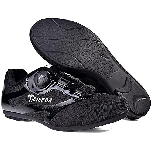 Zapatillas de Ciclismo Sin Bloqueo Zapatillas de Ciclismo de Carretera MTB,Zapatillas de Ciclismo Para Exteriores Para Ciclismo en Interiores con Suela de Goma Antideslizante,Black-45